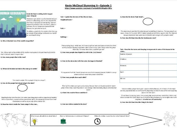 9-1 - Geography -  Kevin McCloud: Slumming It - Episode 1 - Supporting Worksheet
