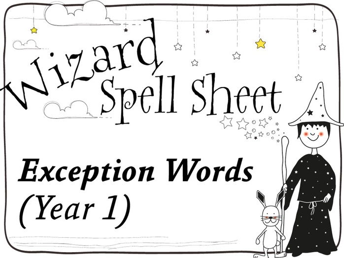 Wizard Spell Sheets: Year 1 Exception Words