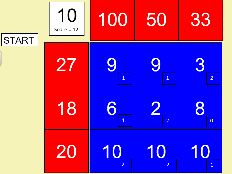 The Factor Game. Play against the teacher. THIS IS A MACRO ENABLED EXCEL FILE.