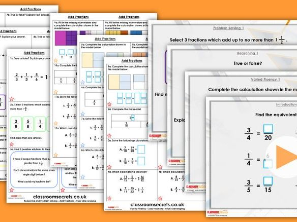 Year 5 Add Fractions 1 Spring Block 2 Step 10 Lesson Pack