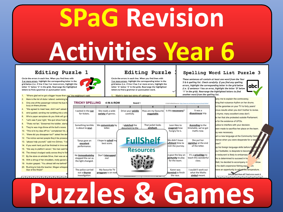 SPaG Revision Activities Year 6 By FullShelf