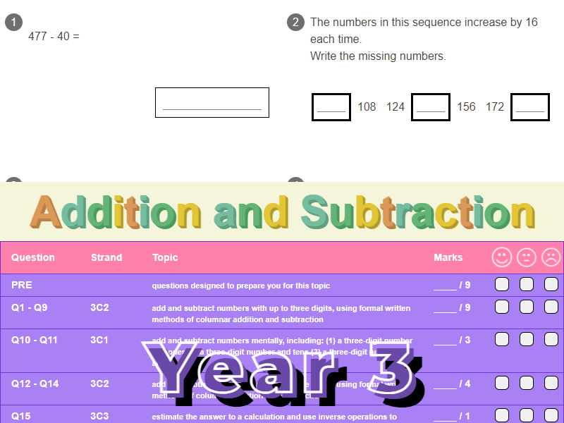 Addition and Subtraction Worksheet + Answers (KS2 - Year 3)