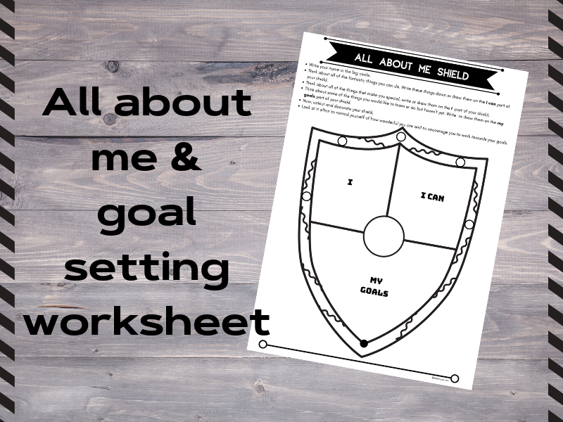 All about me goal setting activity