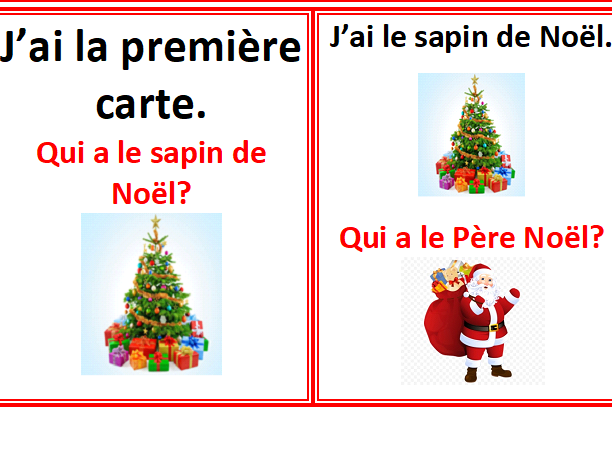 French Christmas card game- j'ai... qui a...