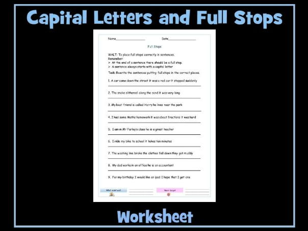 using full stops and capital letters worksheet by krazikas teaching resources. Black Bedroom Furniture Sets. Home Design Ideas