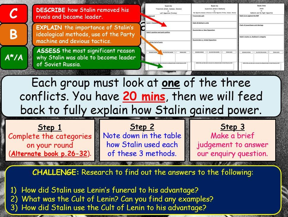 AQA A-Level Tsarist & Communist Russia Lessons 54-74 (First part of Yr 13)