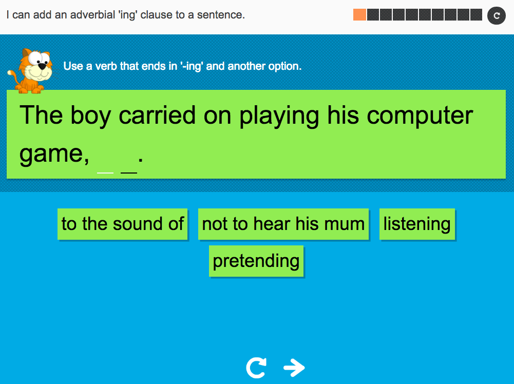 I can add an adverbial 'ing' clause to a sentence - Interactive Activity - Year 5 Spag