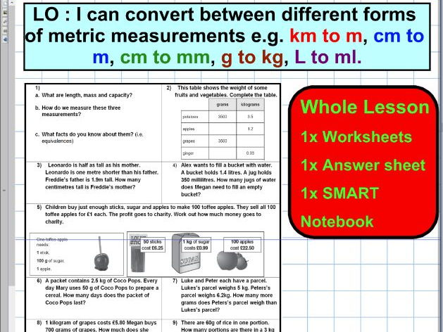 Convert different forms of metric units - Mass - Capacity - Length - conversion  SATS - WHOLE LESSON
