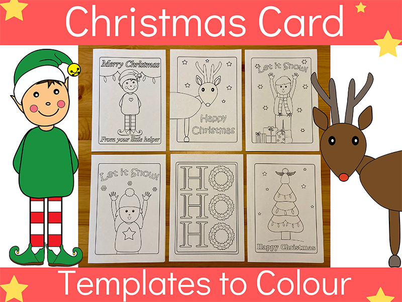 Christmas Card Templates to Colour
