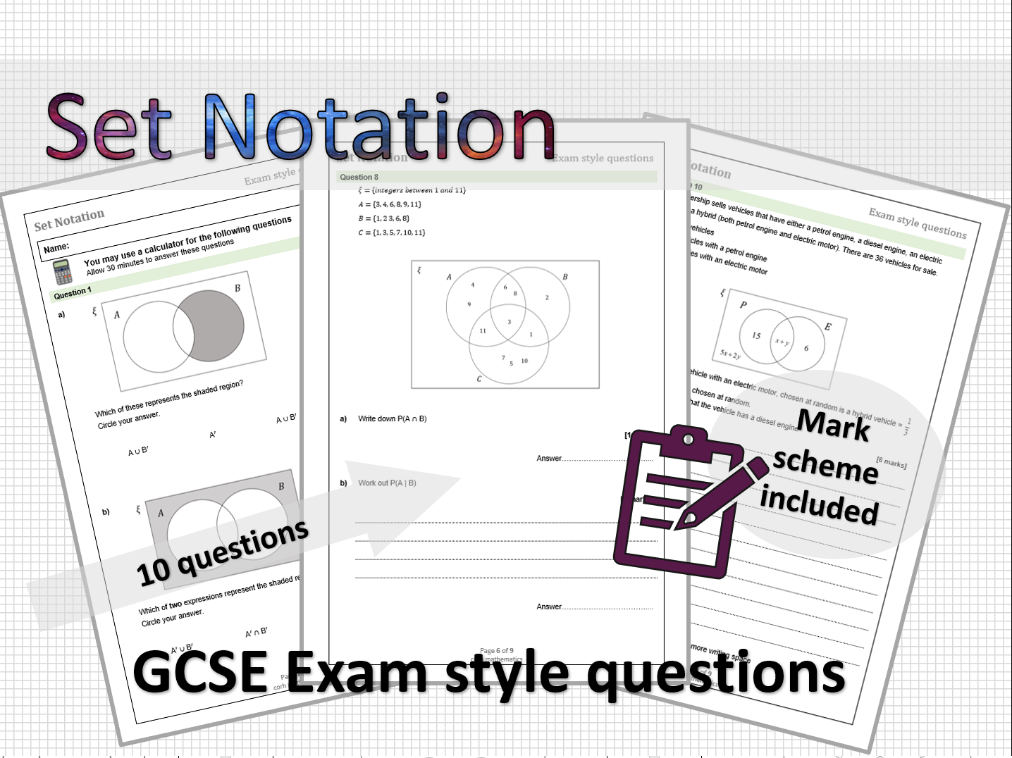 Set Notation - exam style questions