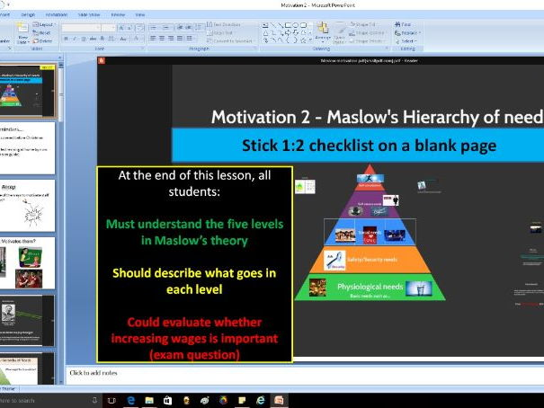 Motivation 2 - Maslow's hierarchy of needs
