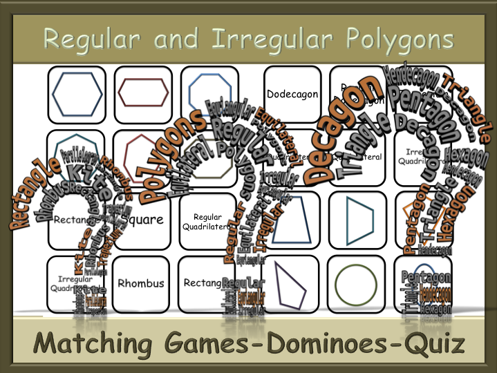 BUNDLE - Polygons Matching Games and Dominoes + Quiz