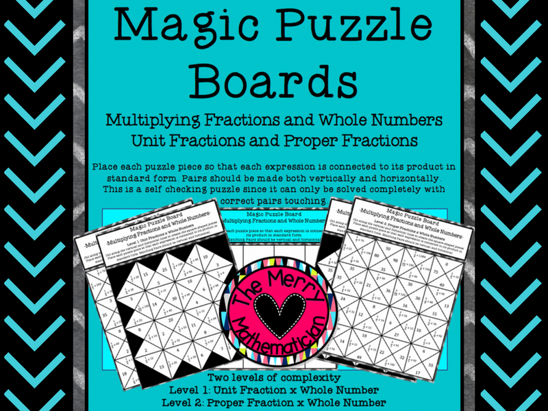 Magic Puzzle Boards Multiplying Fractions by a Whole Number