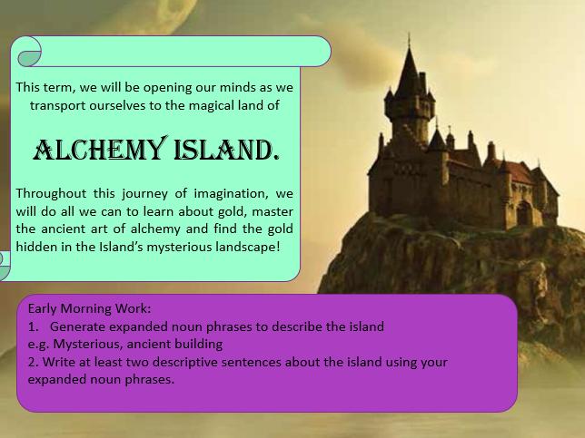 Cornerstones Alchemy Island (Year 5) Slide Show - Initial 3 lessons