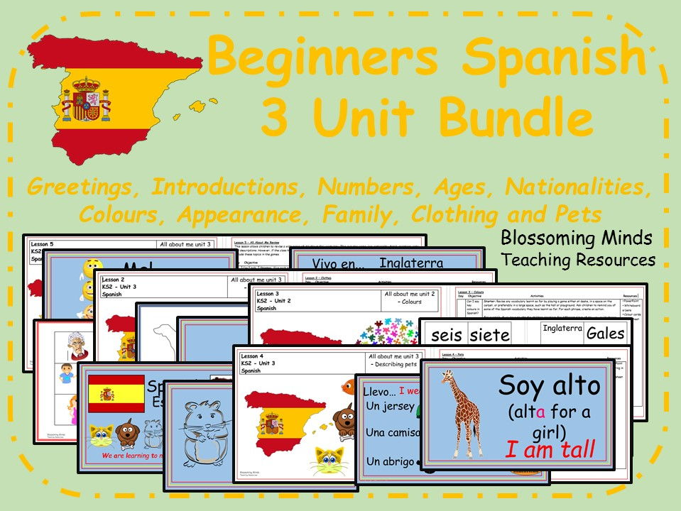 Beginner Spanish - 3 units - 15 lessons