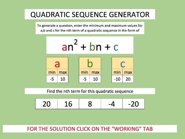 Finding the nth term of a QUADRATIC SEQUENCE with question generator and worked answers