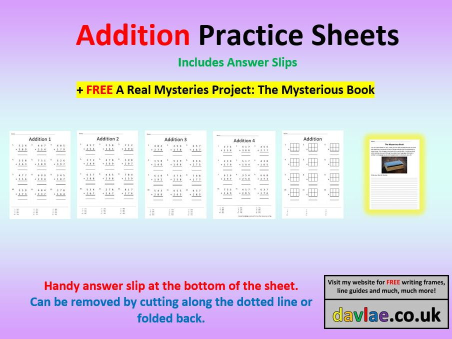 Addition Practice Sheets with Answers (+ FREE A REAL MYSTERIES ...