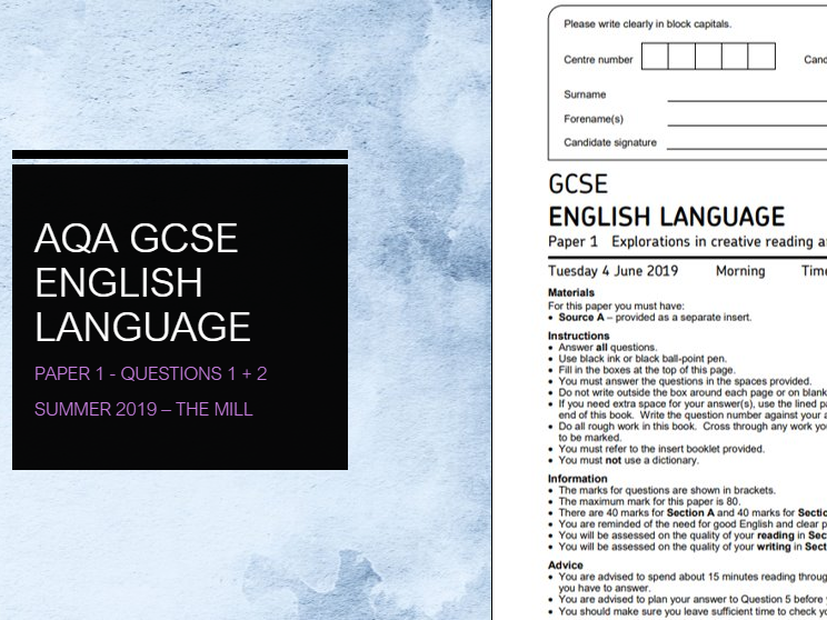 AQA GCSE English Language - Paper 1 Questions 1 + 2 Practice (The Hartops)