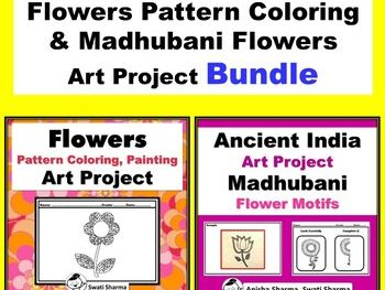 Spring Theme Flowers Pattern Coloring & Madhubani Flowers Art Project Bundle