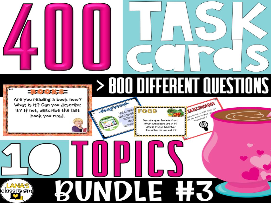 Conversation Starter Task Cards | BUNDLE#3 | For Middle & High School
