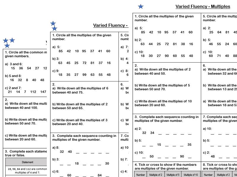 White Rose Maths - Year 5 - Block 4 - Multiples (Varied Fluency)