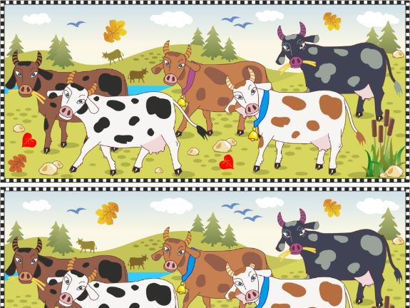 Find the Differences Visual Puzzle – Spotted Cows