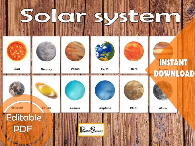Solar system 3Part card /  Planets flash cards / Space Art / Cosmos art / Homeschooling / Montessori