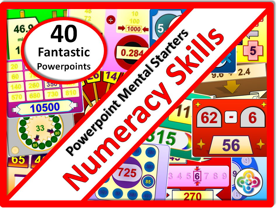 Numeracy Skills:  40 Fantastic Bright and Colourful Powerpoints