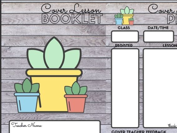 Cover Substitute Teacher Lesson Booklet Folder Template