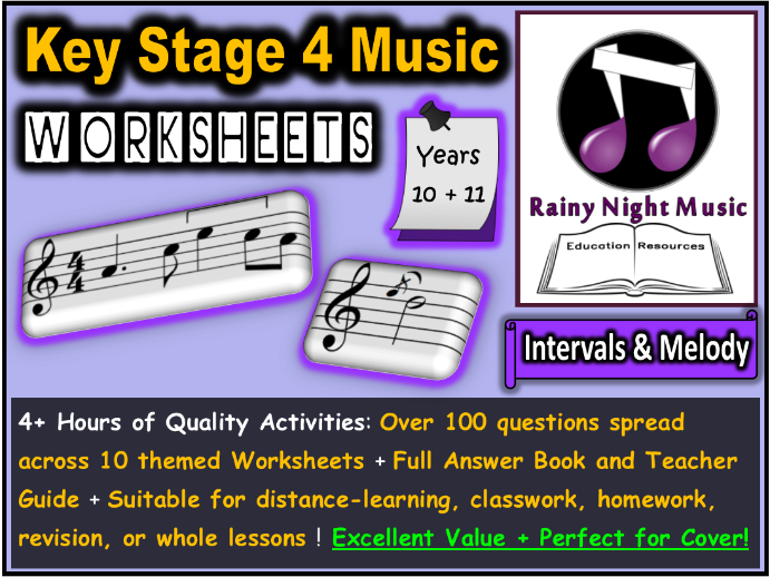 Music Worksheets Intervals and Melody