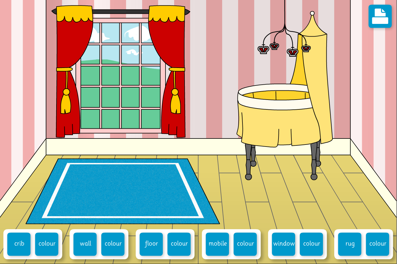 Decorate the Royal Nursery Interactive Game - KS1