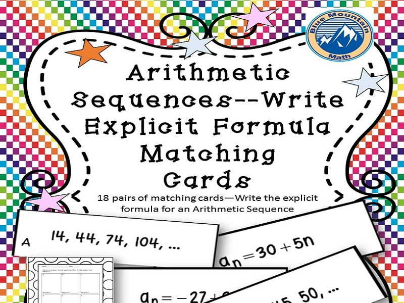 Arithmetic Sequences--Write Explicit Formula Matching Cards