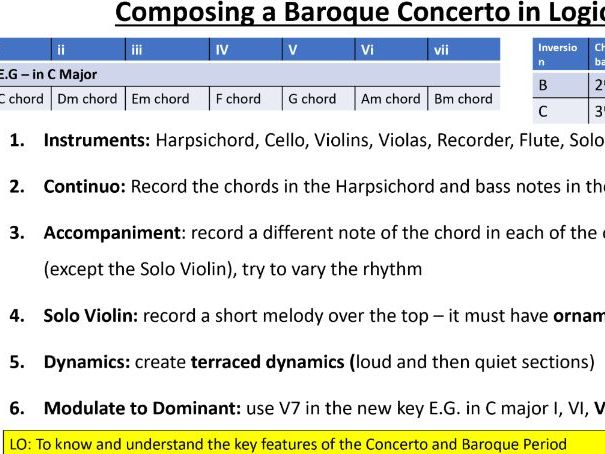 OCR GCSE: Concerto Through Time Presentation with Logic Pro X activities