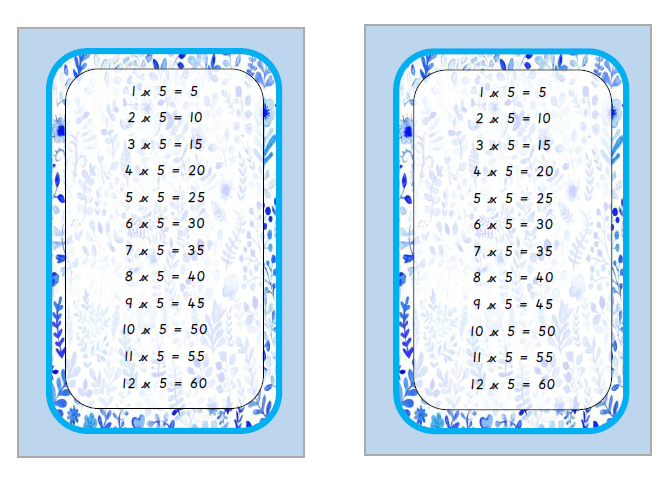 Times tables in  tolsby frame