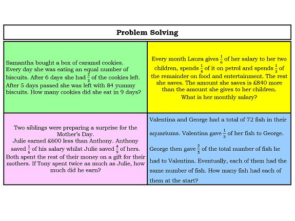 More Fraction Word Problem Solving - Grid