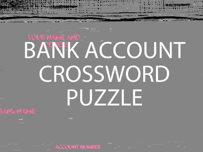 Bank Account Crossword Puzzle (US version)