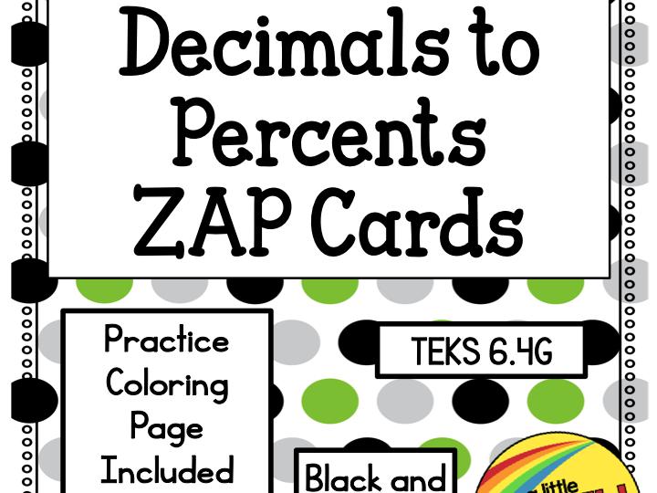 Decimals to Percents Zap Cards
