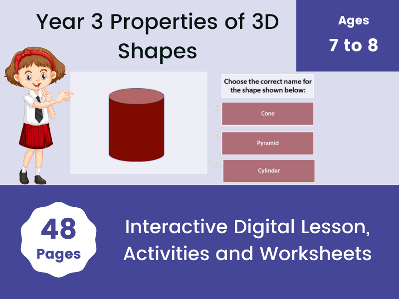 Year 3 Properties of 3D Shapes with free worksheet