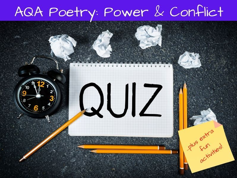 Power and Conflict Poetry Fun Activity Pack