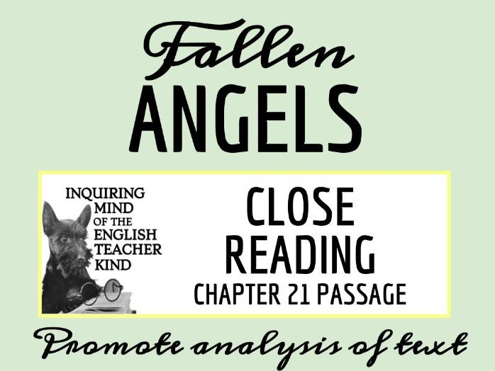 Fallen Angels Close Reading Worksheet - Chapter 21