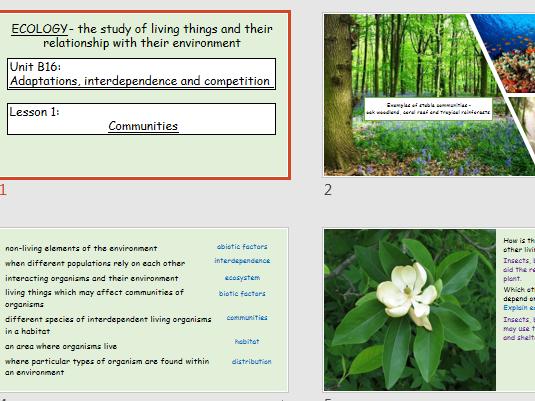 AQA Science Trilogy- Biology Unit B16- Communities- Abiotic and Biotic Factors