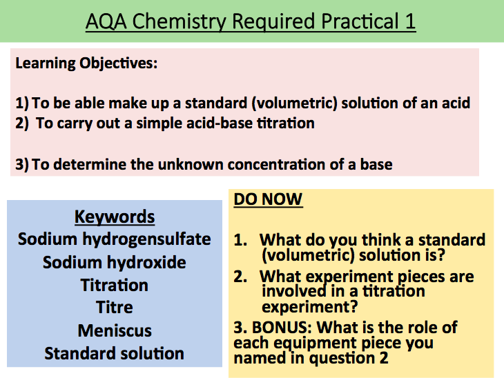 KS5 Chemistry Required Practical 1 (AQA):  Making a volumetric solution & an acid-base titration