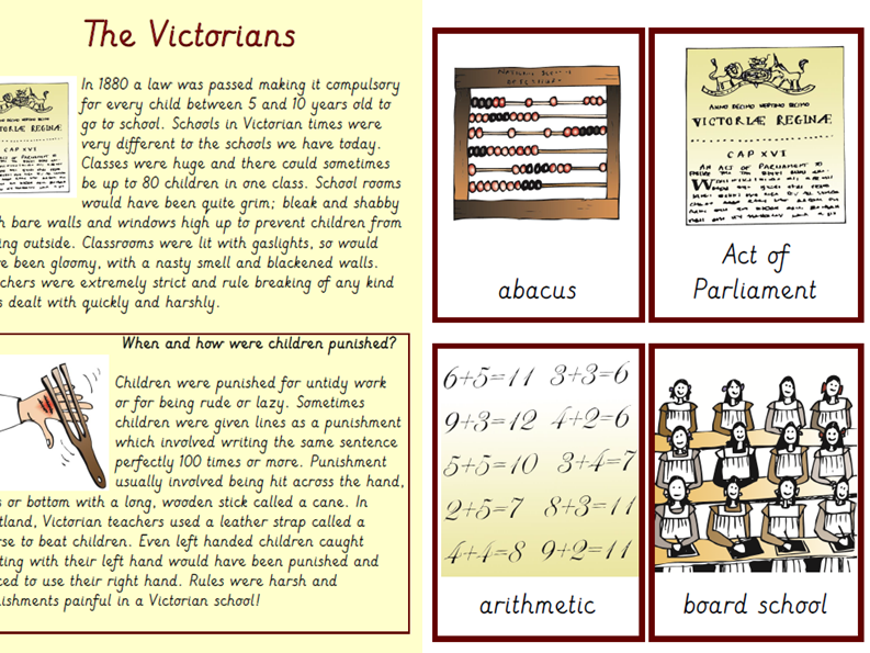 KS2 Victorian Schools  Reading Task/ Vocab cards/  2 comprehensions with SATS style questions