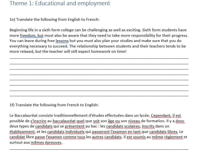 French A level Translation Workbook