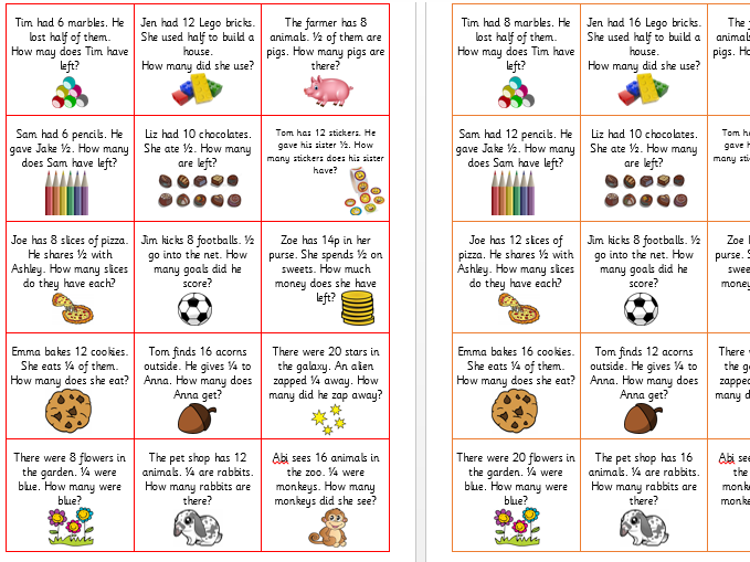 Fractions Word Problems Year 1 Differentiated 11533669 on Problem Solving Worksheets