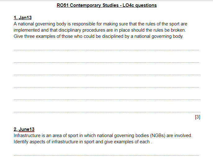 LO4 questions and answers - OCR Cambridge Nationals Sports Studies RO51
