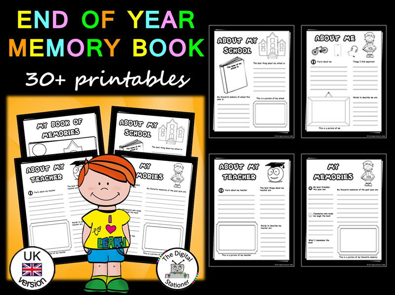 End of Year Activity Memory Book (UK version) - 30+ printables
