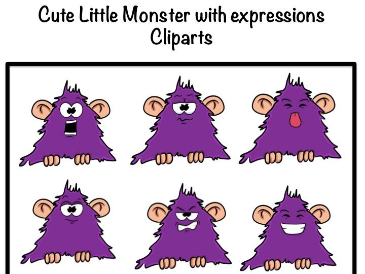 Monster with different expressions- Clipart- for personal and commercial use