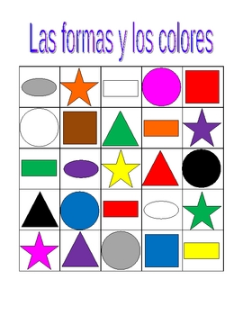 Colores y Formas (Colors and Shapes in Spanish) Bingo game