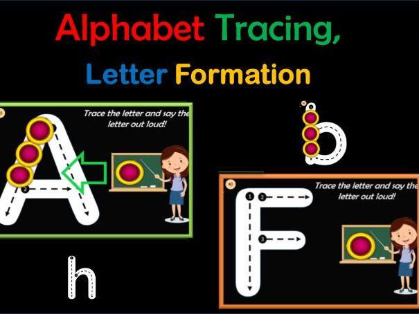 Virtual Alphabet Tracing   Letter Tracing Formation   Phonics - 52 Google Slides